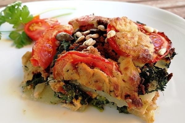 Low Carb Kohlrabi Spinach Lasagne