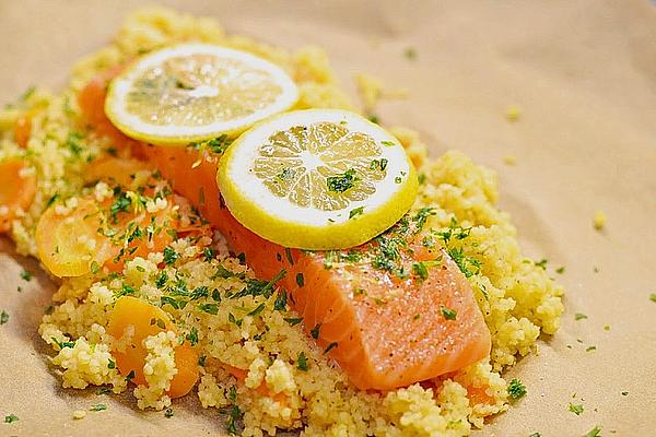 Salmon and couscous parcels.